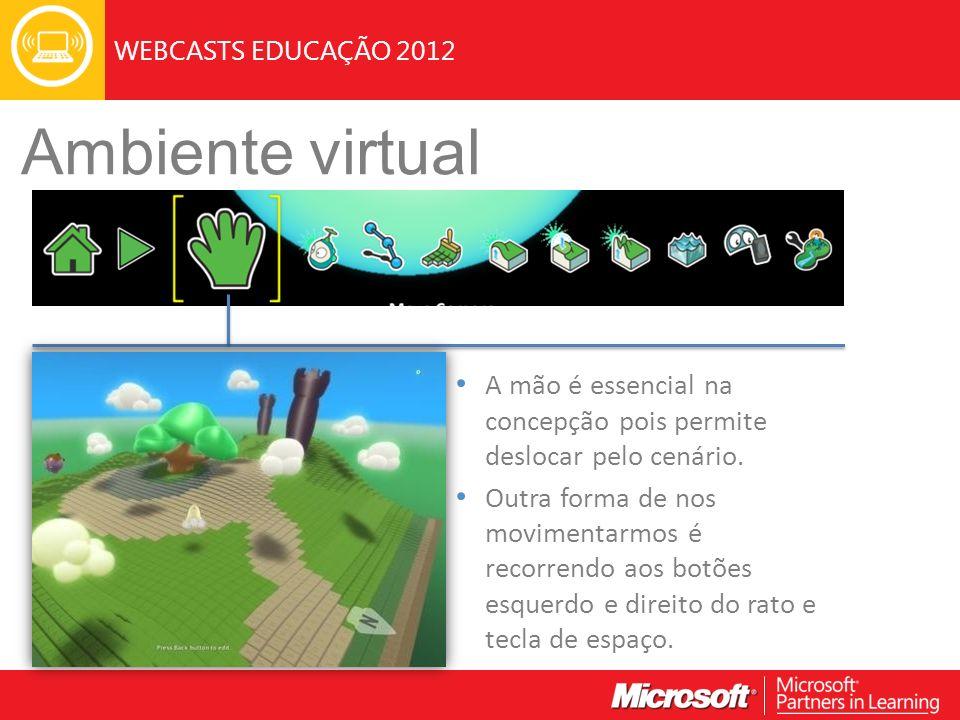 WEBCASTS EDUCAÇÃO 2012 Ambiente virtual A mão é essencial na concepção pois permite deslocar pelo cenário.
