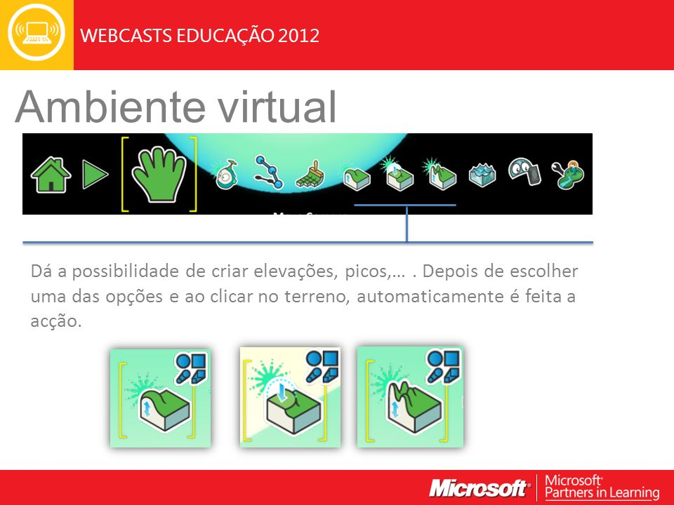 WEBCASTS EDUCAÇÃO 2012 Ambiente virtual Dá a possibilidade de criar elevações, picos,….