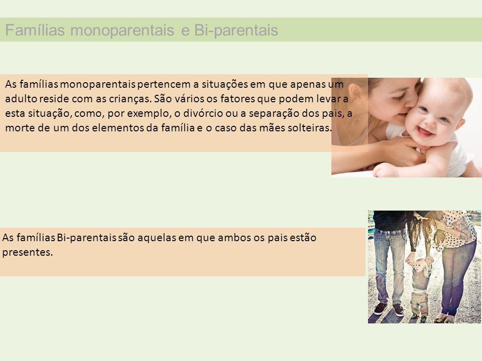 Famílias monoparentais e Bi-parentais As famílias monoparentais pertencem a situações em que apenas um adulto reside com as crianças. São vários os fa