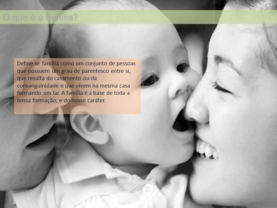 O que é a família? Define-se família como um conjunto de pessoas que possuem um grau de parentesco entre si, que resulta do casamento ou da consanguin