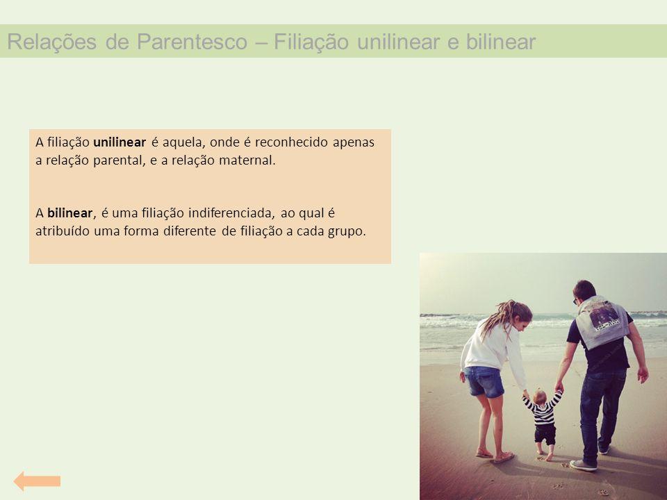 Relações de Parentesco – Filiação unilinear e bilinear A filiação unilinear é aquela, onde é reconhecido apenas a relação parental, e a relação matern