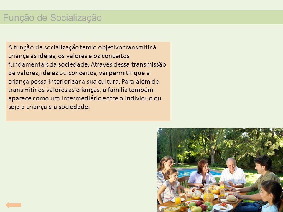 Função de Socialização A função de socialização tem o objetivo transmitir à criança as ideias, os valores e os conceitos fundamentais da sociedade. At