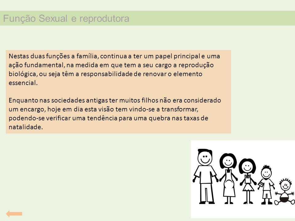 Função Sexual e reprodutora Nestas duas funções a família, continua a ter um papel principal e uma ação fundamental, na medida em que tem a seu cargo