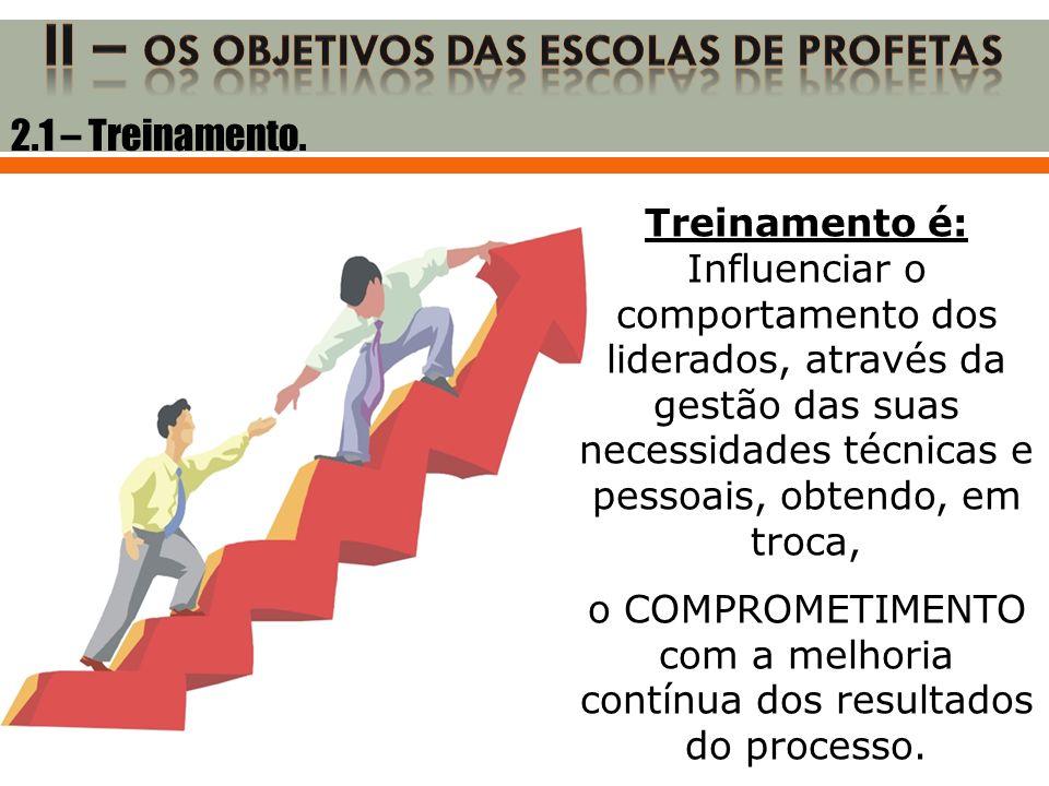 2.1 – Treinamento. Treinamento é: Influenciar o comportamento dos liderados, através da gestão das suas necessidades técnicas e pessoais, obtendo, em