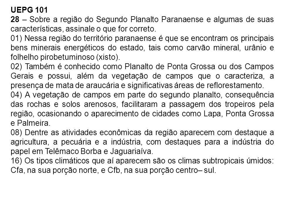 UEPG 101 28 – Sobre a região do Segundo Planalto Paranaense e algumas de suas características, assinale o que for correto. 01) Nessa região do territó