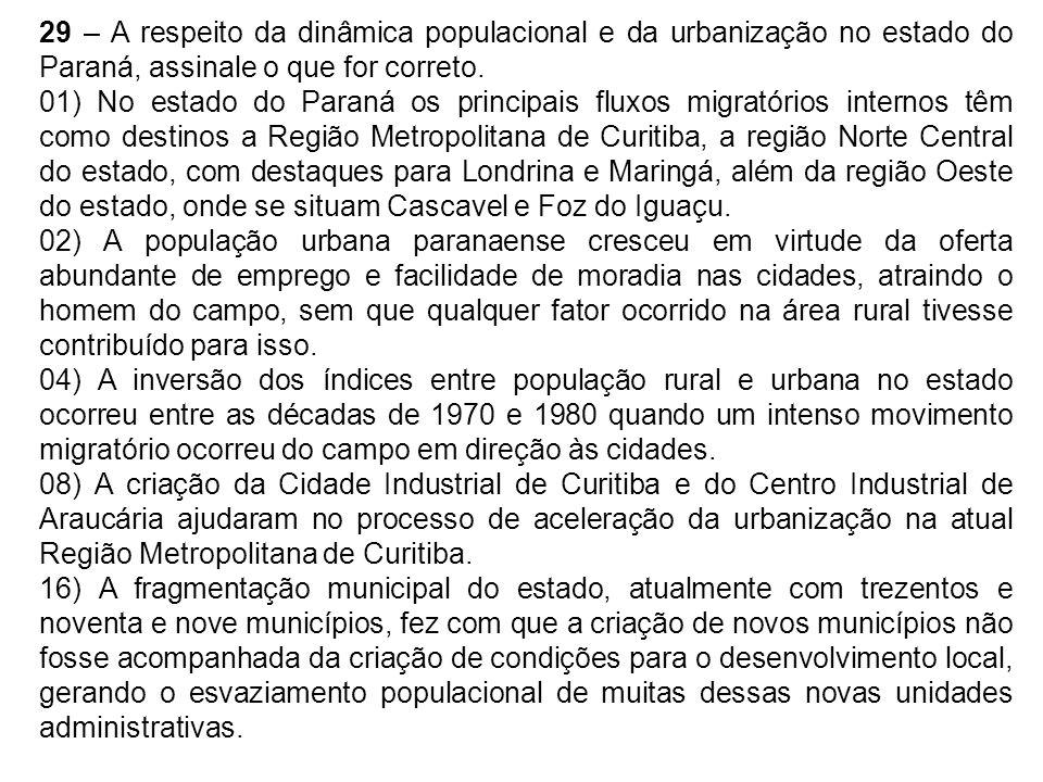 29 – A respeito da dinâmica populacional e da urbanização no estado do Paraná, assinale o que for correto. 01) No estado do Paraná os principais fluxo
