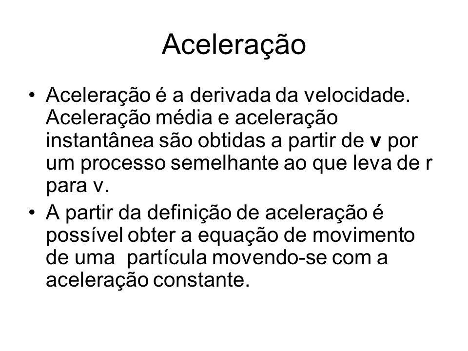 Aceleração Aceleração é a derivada da velocidade. Aceleração média e aceleração instantânea são obtidas a partir de v por um processo semelhante ao qu