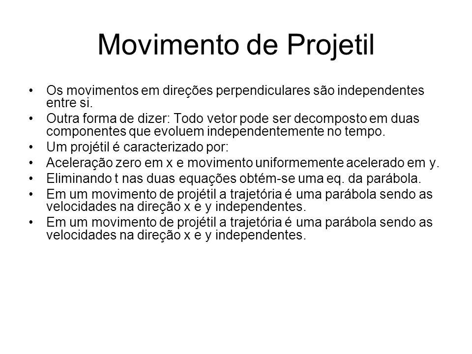 Movimento de Projetil Os movimentos em direções perpendiculares são independentes entre si. Outra forma de dizer: Todo vetor pode ser decomposto em du