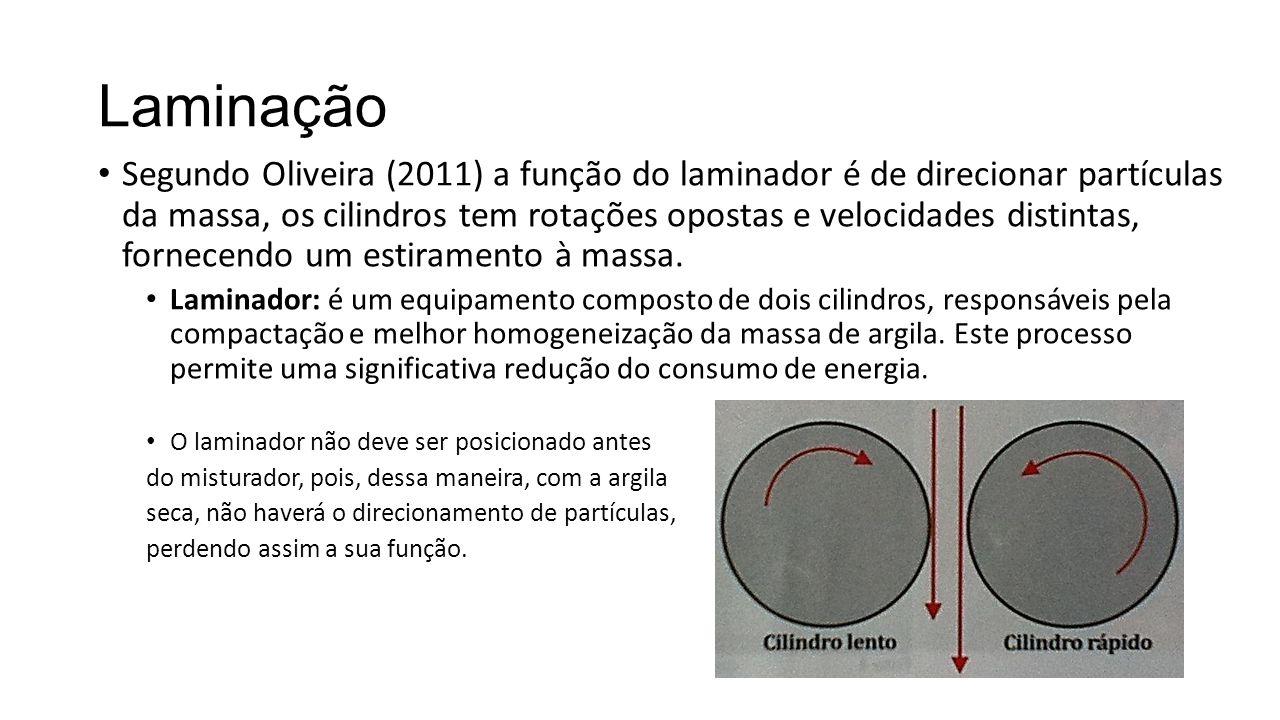 Laminação Segundo Oliveira (2011) a função do laminador é de direcionar partículas da massa, os cilindros tem rotações opostas e velocidades distintas