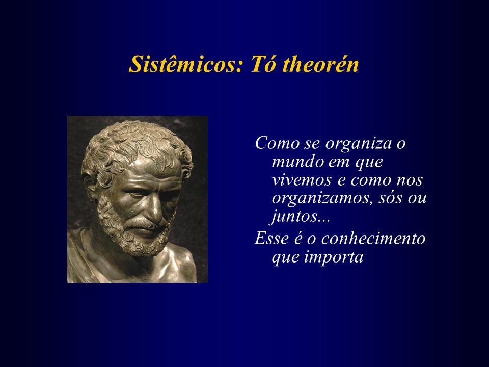 Sistêmicos: Tó theorén Como se organiza o mundo em que vivemos e como nos organizamos, sós ou juntos... Esse é o conhecimento que importa