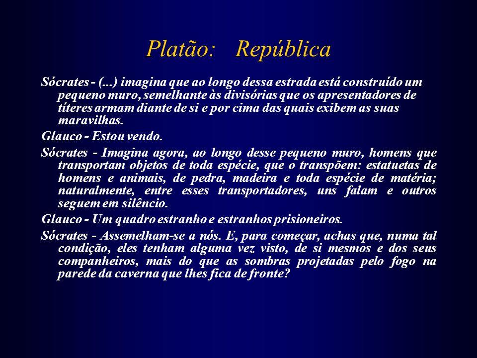 Platão: República Sócrates - (...) imagina que ao longo dessa estrada está construído um pequeno muro, semelhante às divisórias que os apresentadores