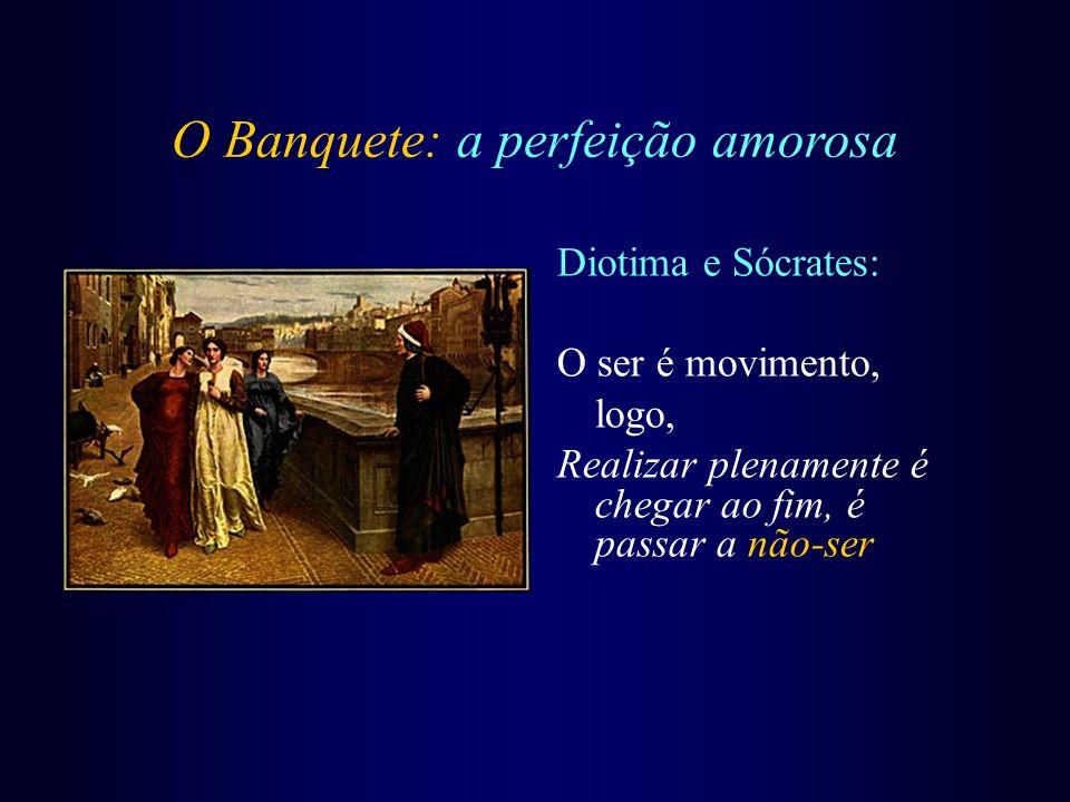 O Banquete: a perfeição amorosa Diotima e Sócrates: O ser é movimento, logo, Realizar plenamente é chegar ao fim, é passar a não-ser