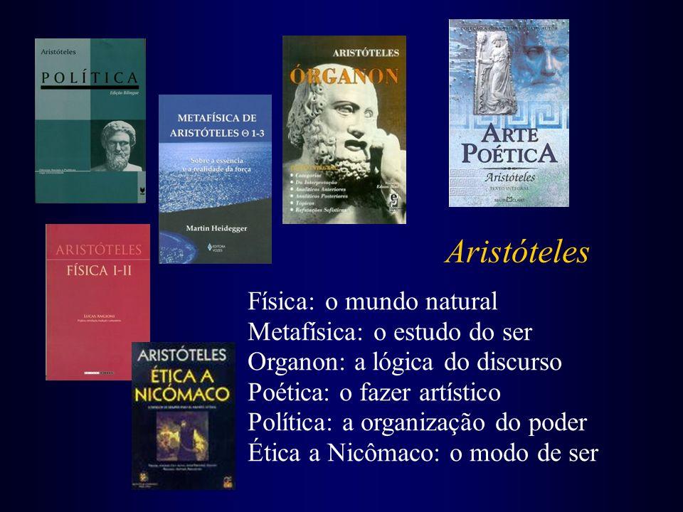 Aristóteles Física: o mundo natural Metafísica: o estudo do ser Organon: a lógica do discurso Poética: o fazer artístico Política: a organização do po