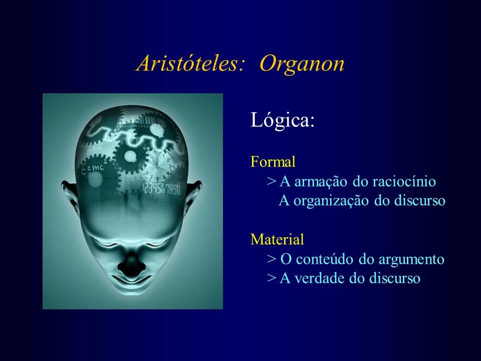 Aristóteles: Organon Lógica: Formal > A armação do raciocínio A organização do discurso Material > O conteúdo do argumento > A verdade do discurso
