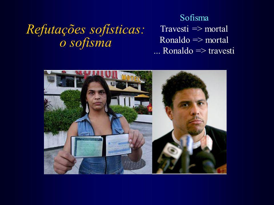 Refutações sofísticas: o sofisma Sofisma Travesti => mortal Ronaldo => mortal... Ronaldo => travesti