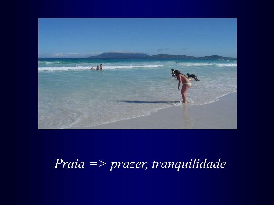 Praia => prazer, tranquilidade