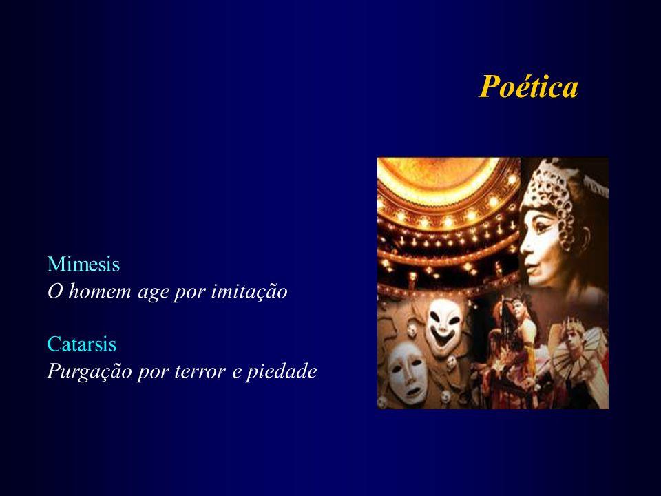 Mimesis O homem age por imitação Catarsis Purgação por terror e piedade Poética