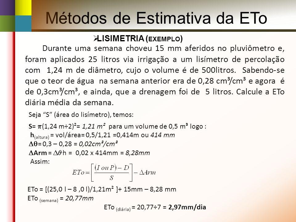 Métodos de Estimativa da ETo LISIMETRIA ( EXEMPLO ) Durante uma semana choveu 15 mm aferidos no pluviômetro e, foram aplicados 25 litros via irrigação a um lisímetro de percolação com 1,24 m de diâmetro, cujo o volume é de 500litros.
