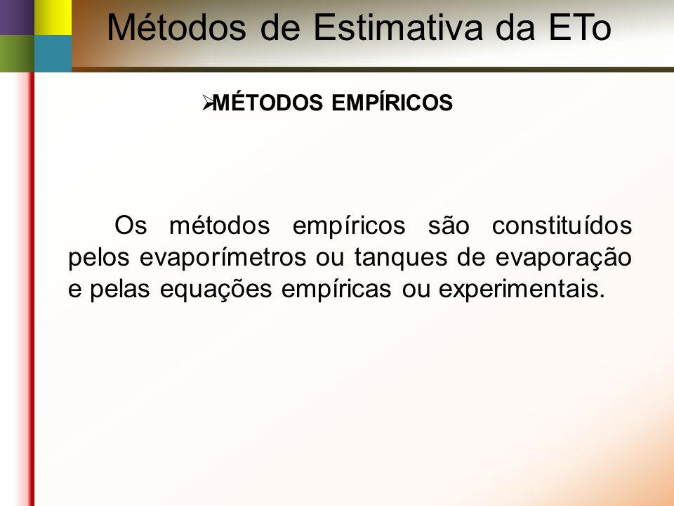 MÉTODOS EMPÍRICOS Os métodos empíricos são constituídos pelos evaporímetros ou tanques de evaporação e pelas equações empíricas ou experimentais.