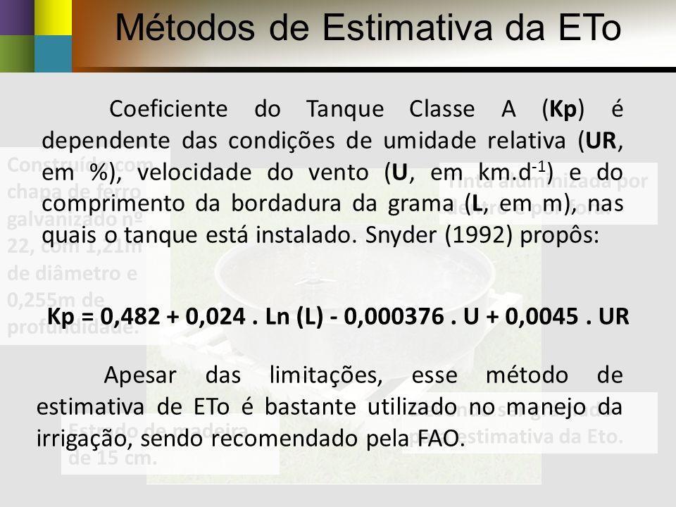 Evaporímetros ou tanques de evaporação Esse método Baseia-se na proporcionalidade existente entre a evaporação do tanque Classe A (ECA) e a evapotranspiração de referência (ETo).