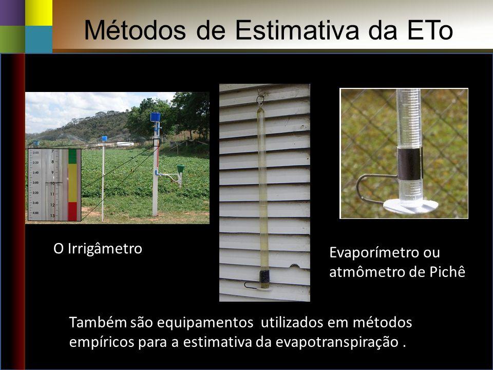 Métodos de Estimativa da ETo Evaporímetro ou atmômetro de Pichê O Irrigâmetro Também são equipamentos utilizados em métodos empíricos para a estimativa da evapotranspiração.