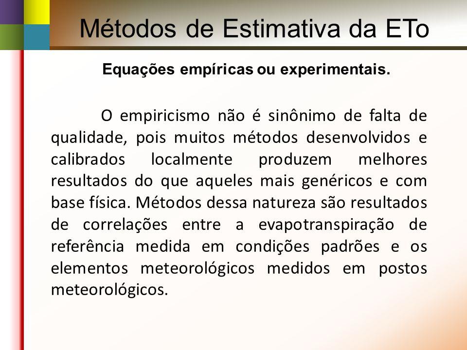 Métodos de Estimativa da ETo Equações empíricas ou experimentais.