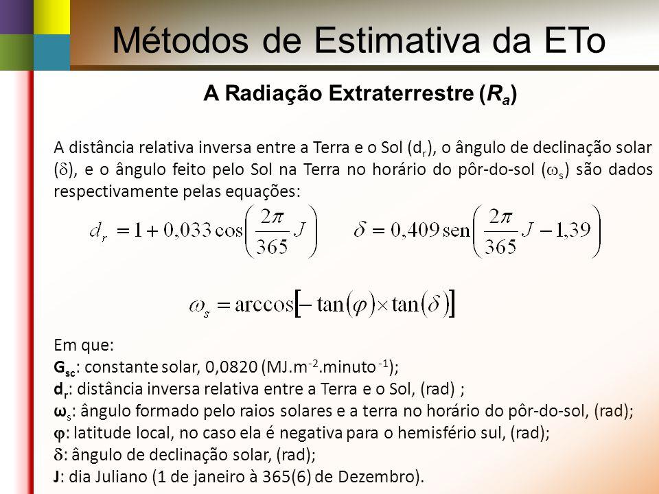 A distância relativa inversa entre a Terra e o Sol (d r ), o ângulo de declinação solar ( ), e o ângulo feito pelo Sol na Terra no horário do pôr-do-sol ( s ) são dados respectivamente pelas equações: Em que: G sc : constante solar, 0,0820 (MJ.m -2.minuto -1 ); d r : distância inversa relativa entre a Terra e o Sol, (rad) ; ω s : ângulo formado pelo raios solares e a terra no horário do pôr-do-sol, (rad); : latitude local, no caso ela é negativa para o hemisfério sul, (rad); : ângulo de declinação solar, (rad); J: dia Juliano (1 de janeiro à 365(6) de Dezembro).