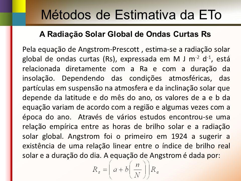 Métodos de Estimativa da ETo A Radiação Solar Global de Ondas Curtas Rs Pela equação de Angstrom-Prescott, estima-se a radiação solar global de ondas curtas (Rs), expressada em M J m -2 d -1, está relacionada diretamente com a Ra e com a duração da insolação.