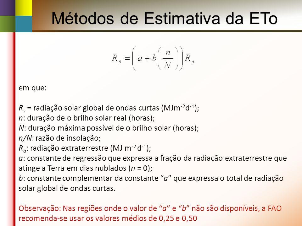 em que: R s = radiação solar global de ondas curtas (MJm -2 d -1 ); n: duração de o brilho solar real (horas); N: duração máxima possível de o brilho solar (horas); n/N: razão de insolação; R a : radiação extraterrestre (MJ m -2 d -1 ); a: constante de regressão que expressa a fração da radiação extraterrestre que atinge a Terra em dias nublados (n = 0); b: constante complementar da constante a que expressa o total de radiação solar global de ondas curtas.