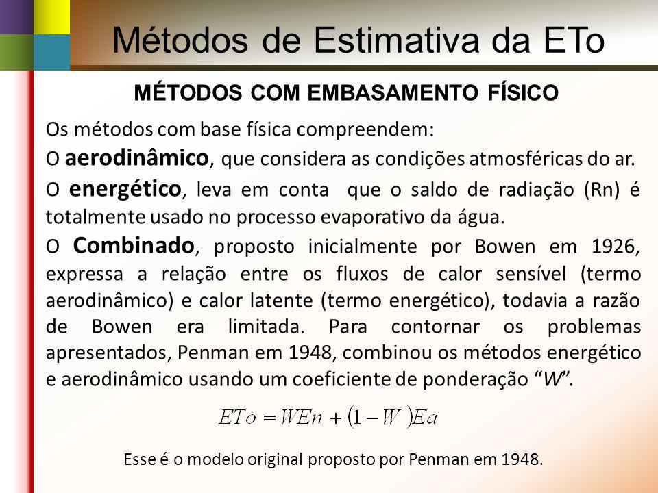 MÉTODOS COM EMBASAMENTO FÍSICO Os métodos com base física compreendem: O aerodinâmico, que considera as condições atmosféricas do ar.