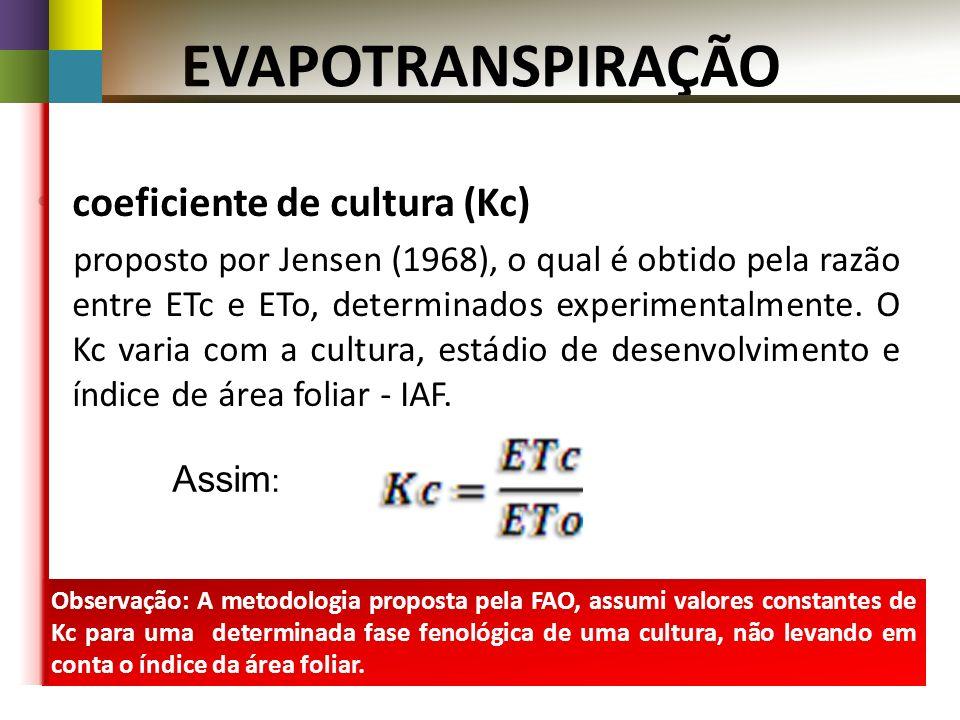 Observação: A metodologia proposta pela FAO, assumi valores constantes de Kc para uma determinada fase fenológica de uma cultura, não levando em conta o índice da área foliar.