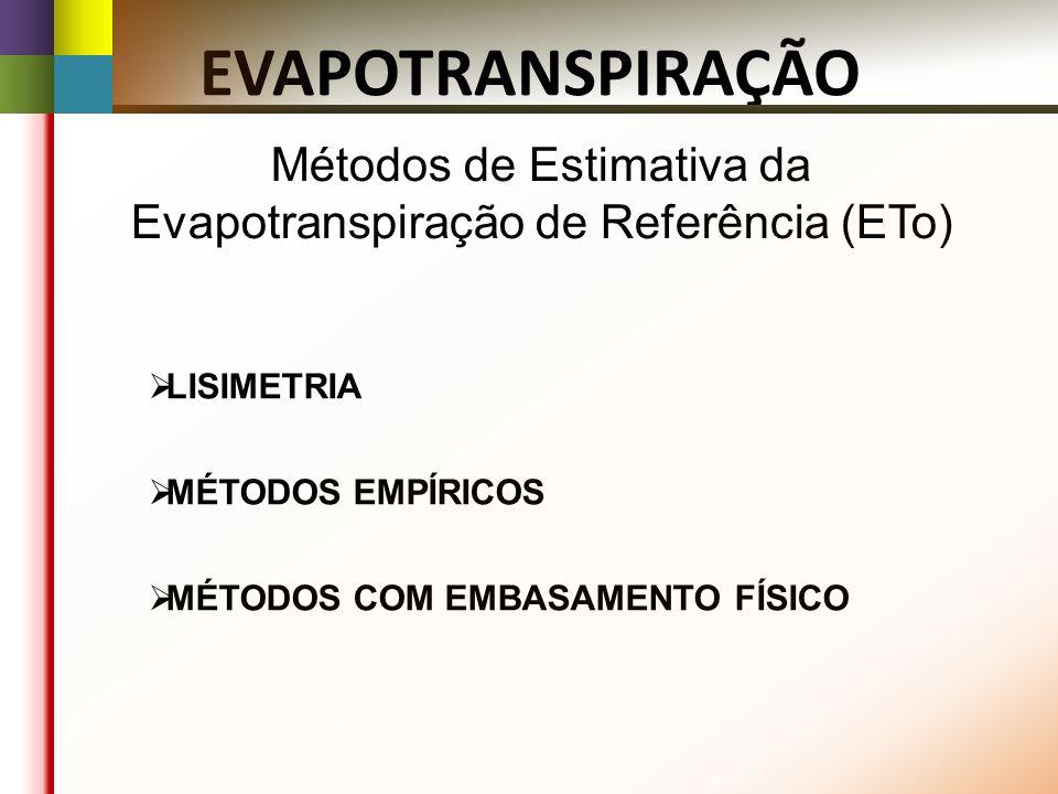 Métodos de Estimativa da Evapotranspiração de Referência (ETo) LISIMETRIA MÉTODOS EMPÍRICOS MÉTODOS COM EMBASAMENTO FÍSICO