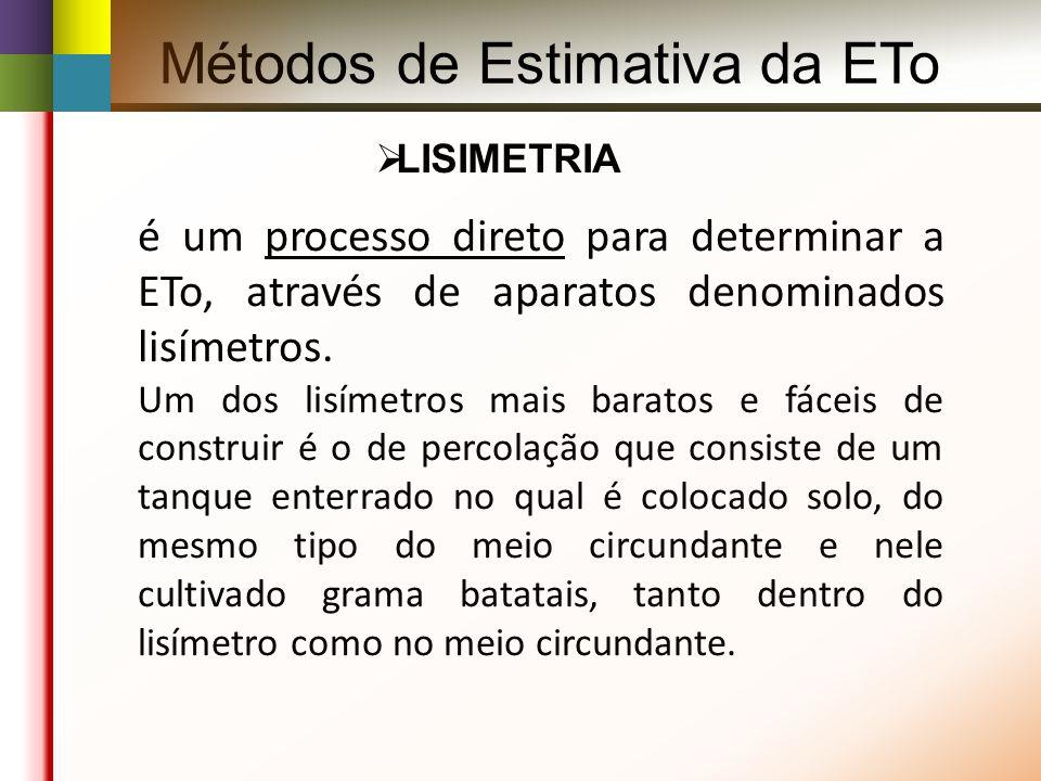 Métodos de Estimativa da ETo LISIMETRIA é um processo direto para determinar a ETo, através de aparatos denominados lisímetros.