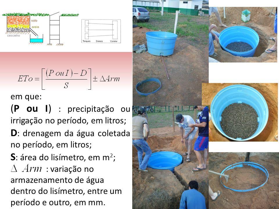 em que: (P ou I) : precipitação ou irrigação no período, em litros; D : drenagem da água coletada no período, em litros; S : área do lisímetro, em m 2 ; : variação no armazenamento de água dentro do lisímetro, entre um período e outro, em mm.