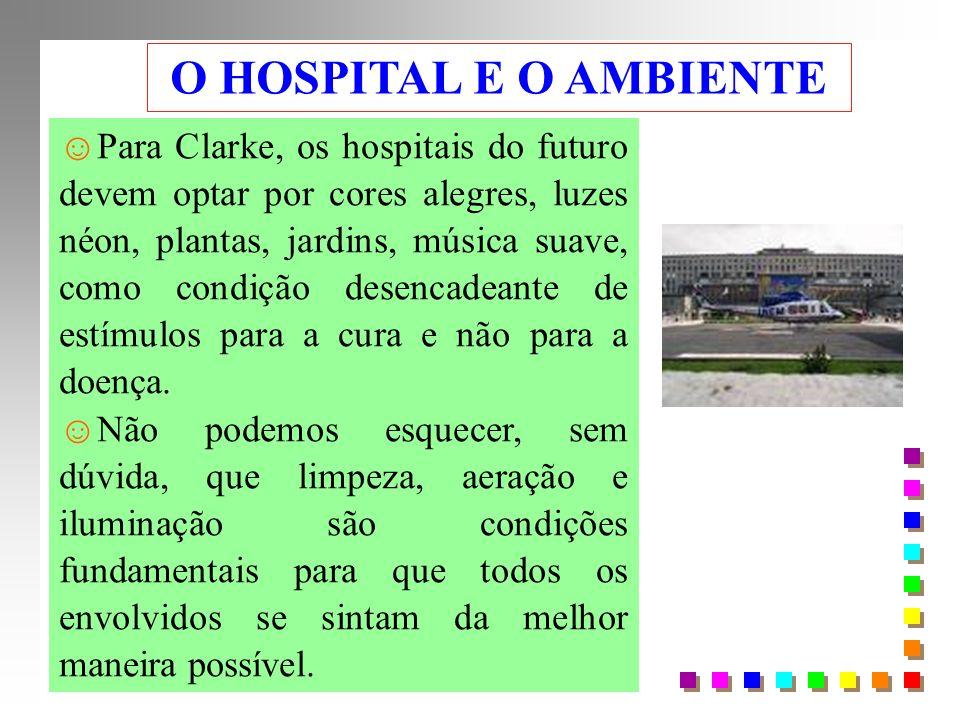 O HOSPITAL E O AMBIENTE Para Clarke, os hospitais do futuro devem optar por cores alegres, luzes néon, plantas, jardins, música suave, como condição desencadeante de estímulos para a cura e não para a doença.