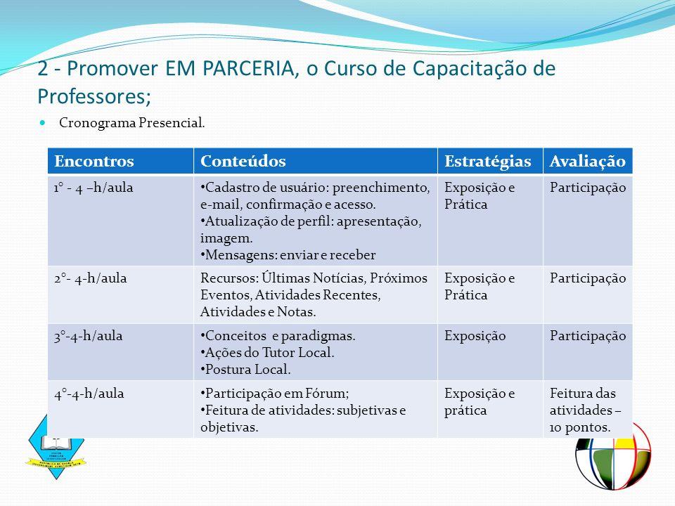 Cronograma Presencial. 2 - Promover EM PARCERIA, o Curso de Capacitação de Professores; EncontrosConteúdosEstratégiasAvaliação 1° - 4 –h/aula Cadastro