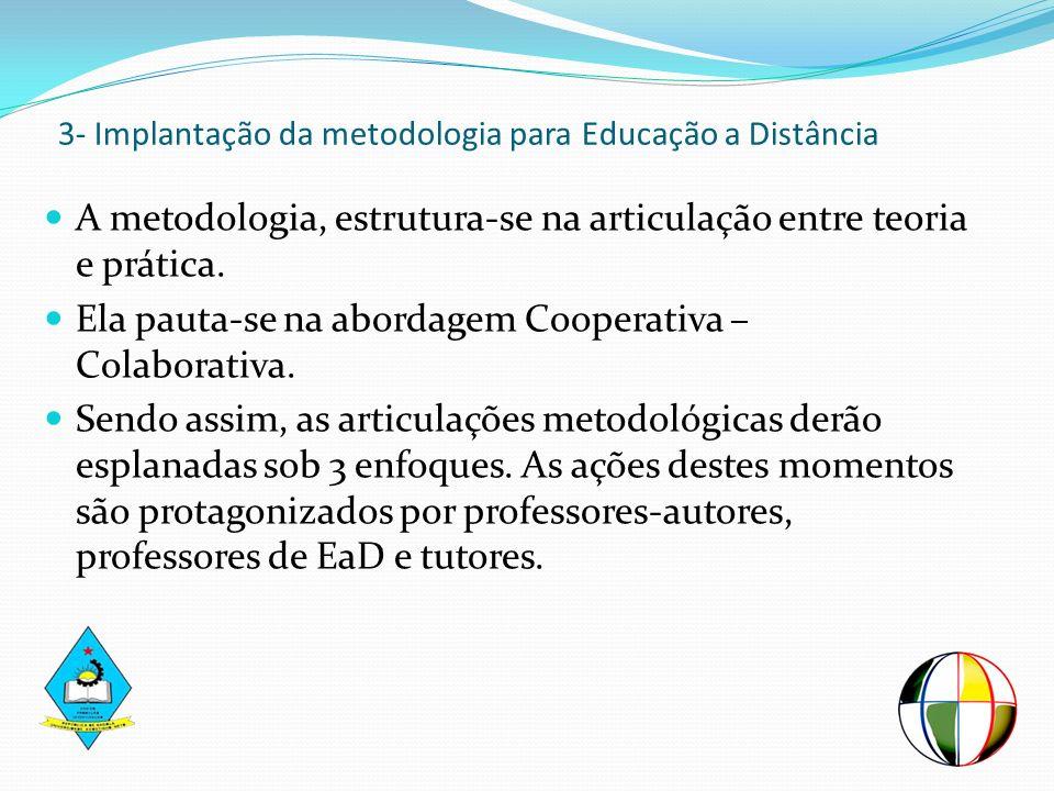 3- Implantação da metodologia para Educação a Distância A metodologia, estrutura-se na articulação entre teoria e prática. Ela pauta-se na abordagem C