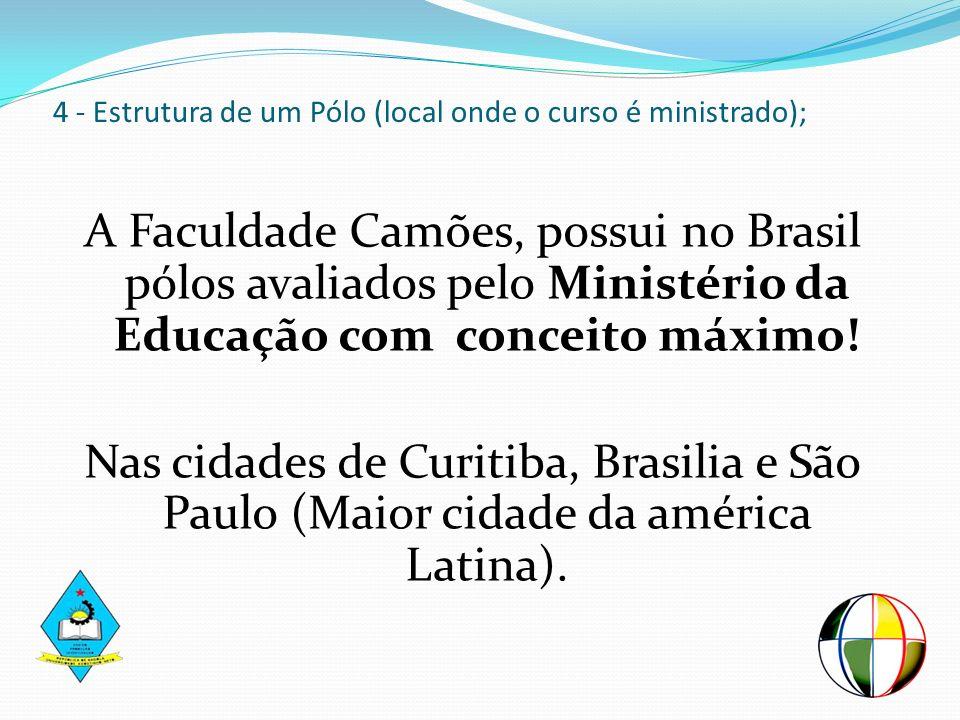 4 - Estrutura de um Pólo (local onde o curso é ministrado); A Faculdade Camões, possui no Brasil pólos avaliados pelo Ministério da Educação com conce