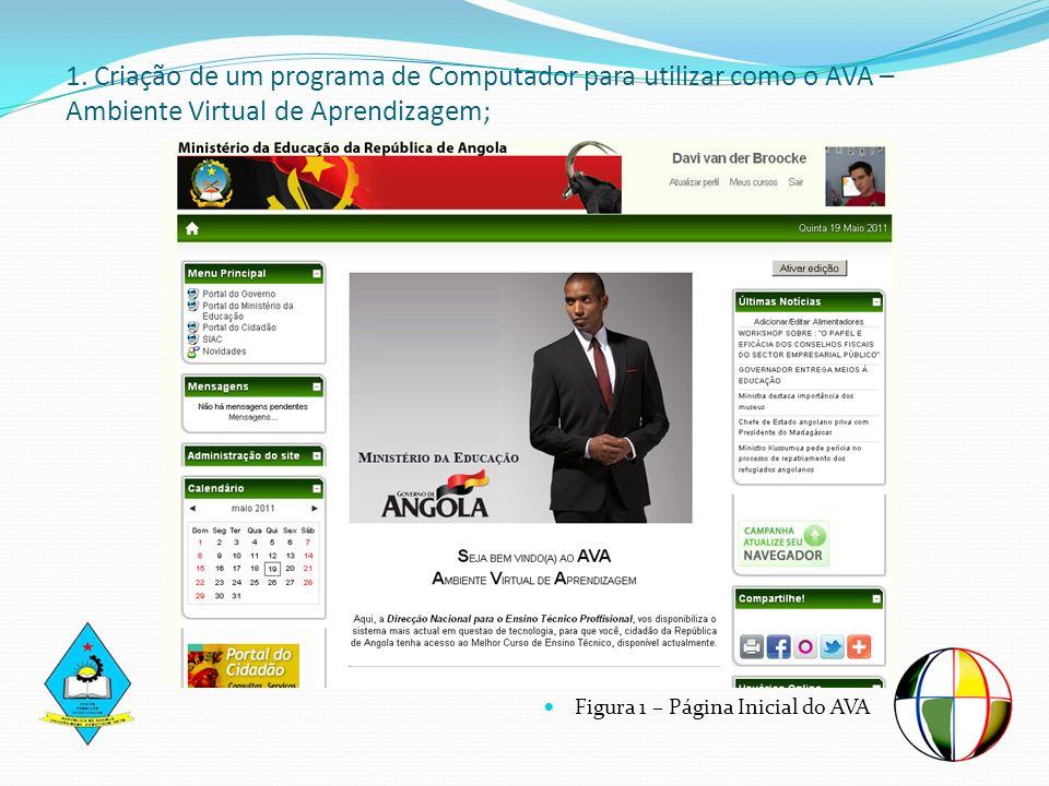 Figura 1 – Página Inicial do AVA 1. Criação de um programa de Computador para utilizar como o AVA – Ambiente Virtual de Aprendizagem;