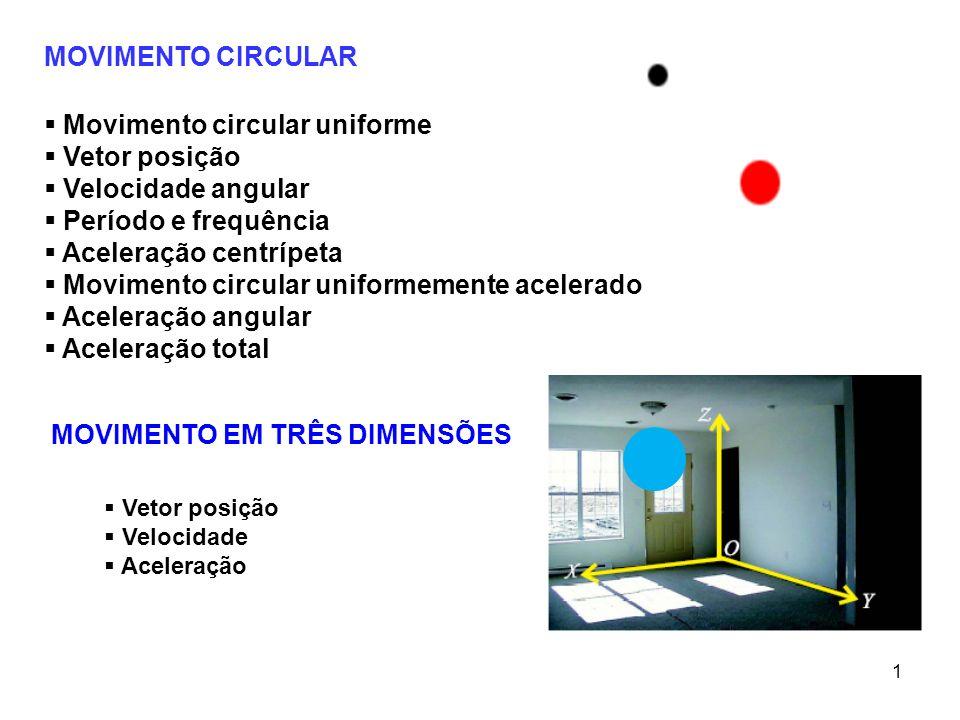 MOVIMENTO CIRCULAR Movimento circular uniforme Vetor posição Velocidade angular Período e frequência Aceleração centrípeta Movimento circular uniforme