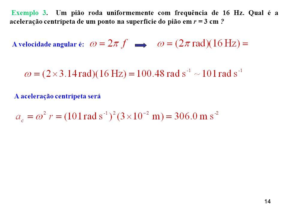 14 Exemplo 3. Um pião roda uniformemente com frequência de 16 Hz. Qual é a aceleração centrípeta de um ponto na superfície do pião em r = 3 cm ? A vel