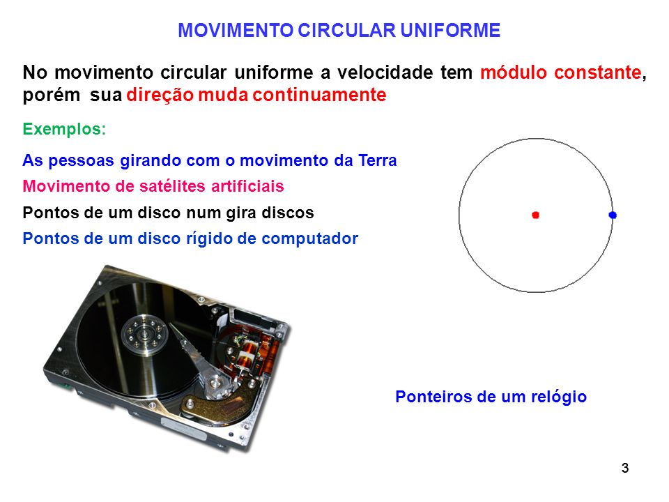 333 No movimento circular uniforme a velocidade tem módulo constante, porém sua direção muda continuamente Movimento de satélites artificiais MOVIMENT