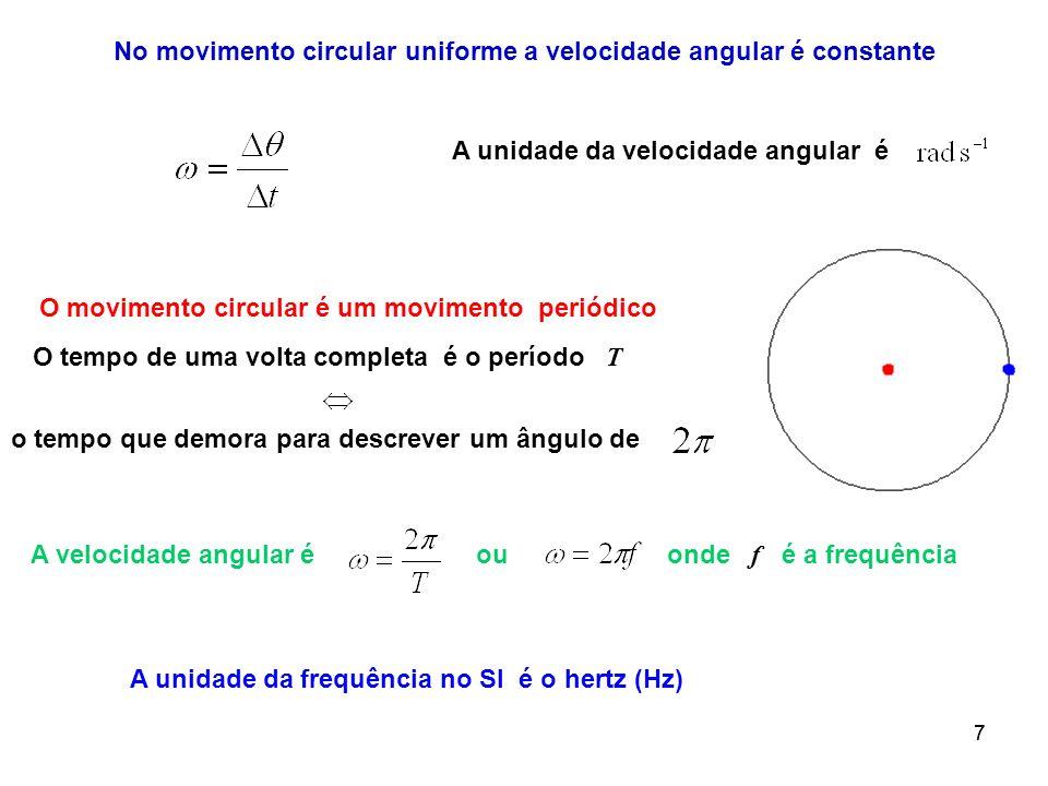 77 O movimento circular é um movimento periódico O tempo de uma volta completa é o período T o tempo que demora para descrever um ângulo de A velocida