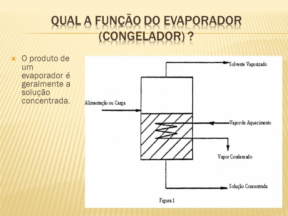 O produto de um evaporador é geralmente a solução concentrada.