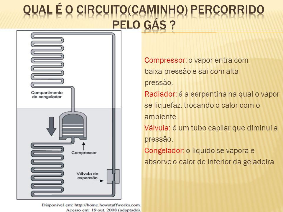 Compressor: o vapor entra com baixa pressão e sai com alta pressão. Radiador: é a serpentina na qual o vapor se liquefaz, trocando o calor com o ambie