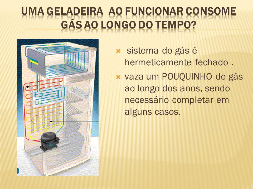 sistema do gás é hermeticamente fechado. vaza um POUQUINHO de gás ao longo dos anos, sendo necessário completar em alguns casos.