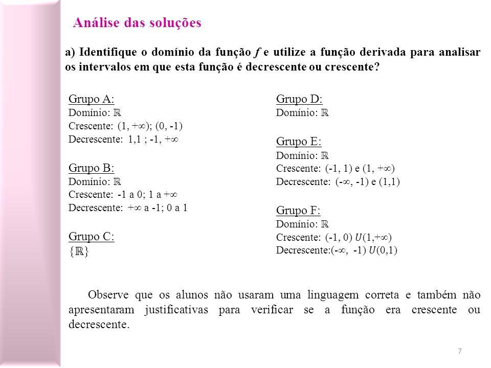 Análise das soluções a) Identifique o domínio da função f e utilize a função derivada para analisar os intervalos em que esta função é decrescente ou