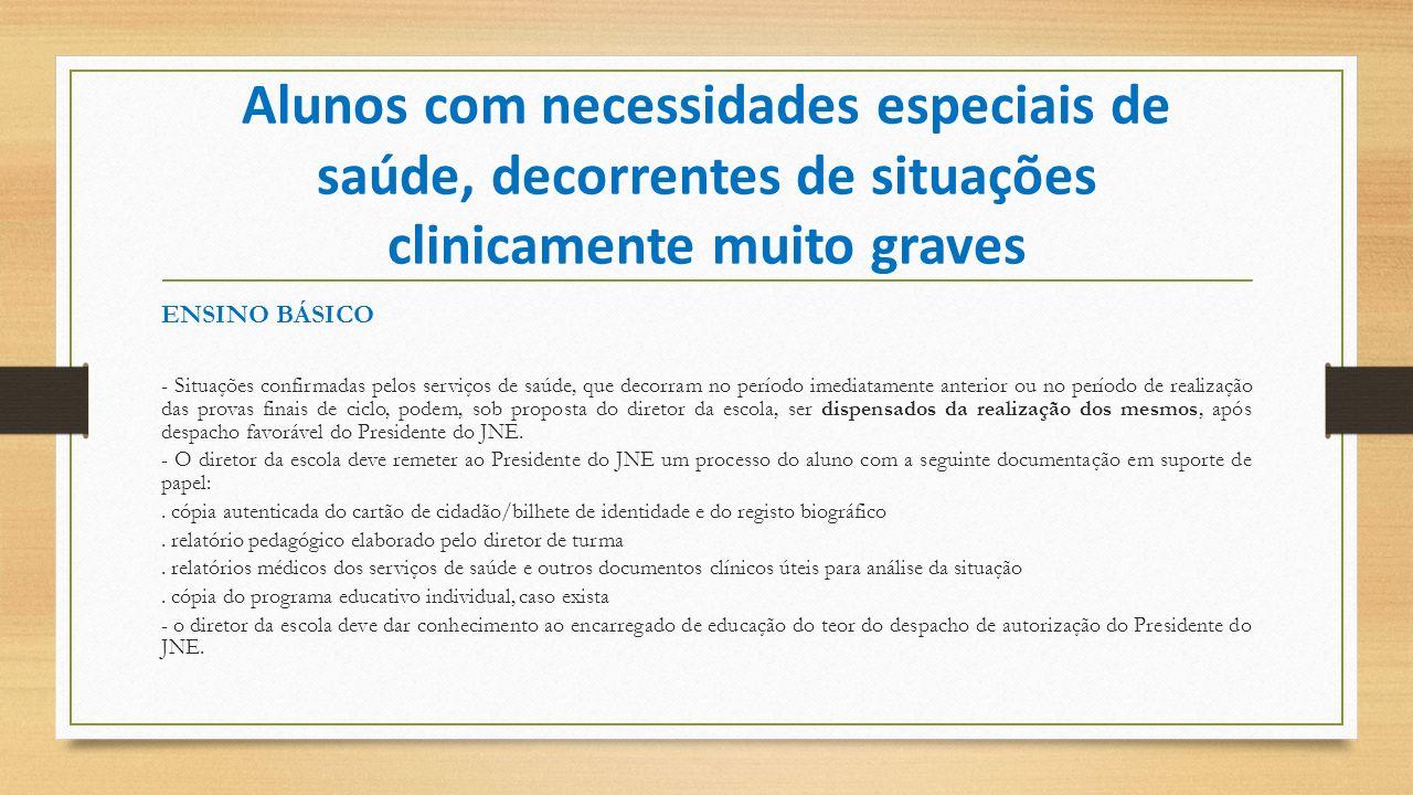 Alunos com necessidades especiais de saúde, decorrentes de situações clinicamente muito graves ENSINO BÁSICO - Situações confirmadas pelos serviços de
