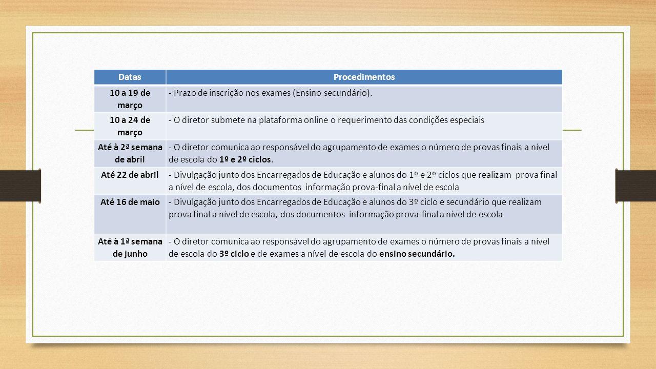 DatasProcedimentos 10 a 19 de março - Prazo de inscrição nos exames (Ensino secundário). 10 a 24 de março - O diretor submete na plataforma online o r