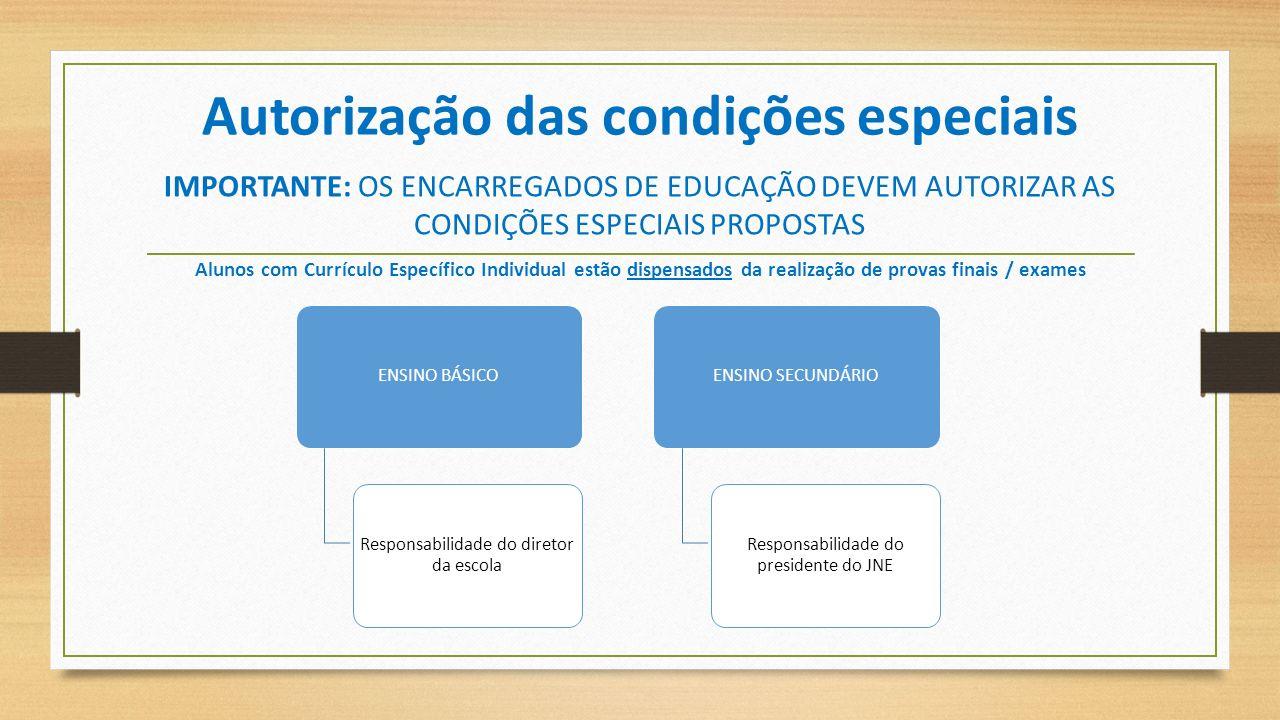 Autorização das condições especiais IMPORTANTE: OS ENCARREGADOS DE EDUCAÇÃO DEVEM AUTORIZAR AS CONDIÇÕES ESPECIAIS PROPOSTAS Alunos com Currículo Espe
